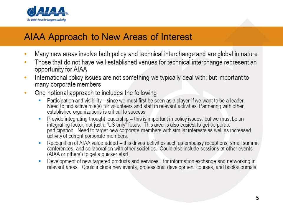 AIAA Approach to New Areas of Interest Many new areas involve both policy and technical interchange and are global in nature Those that do not have well established venues for technical interchange represent an opportunity for AIAA International policy issues are not something we typically deal with; but important to many corporate members One notional approach to includes the following Participation and visibility – since we must first be seen as a player if we want to be a leader.