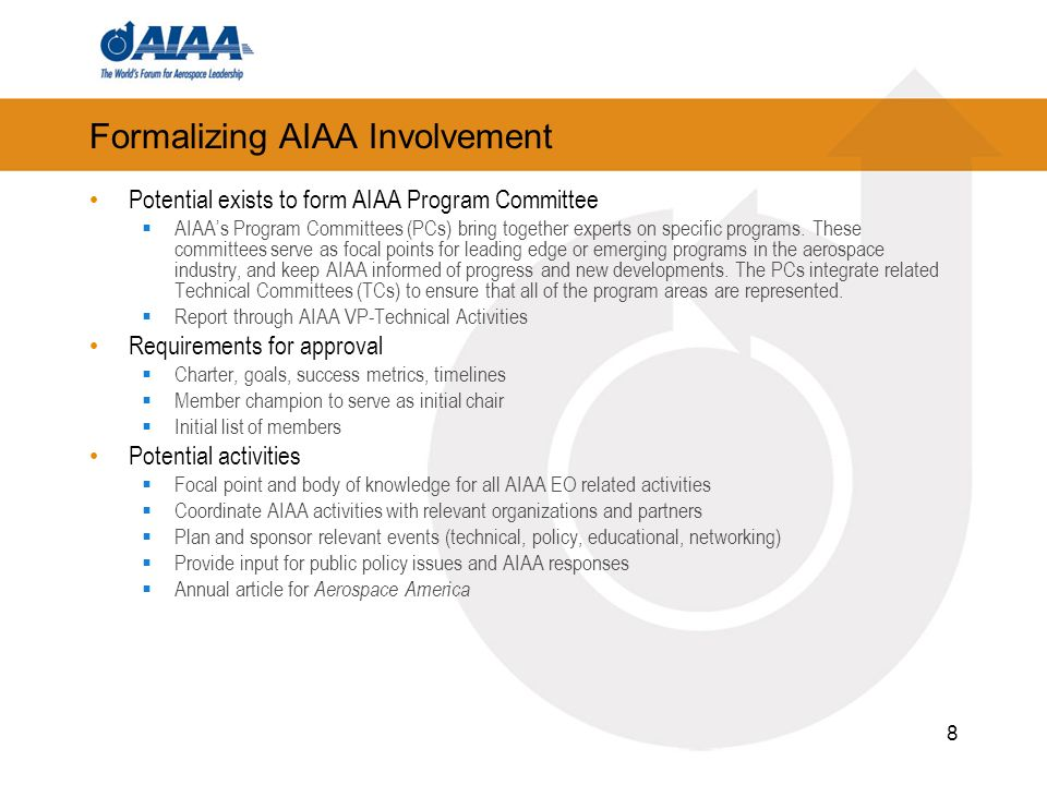 Formalizing AIAA Involvement Potential exists to form AIAA Program Committee AIAAs Program Committees (PCs) bring together experts on specific programs.