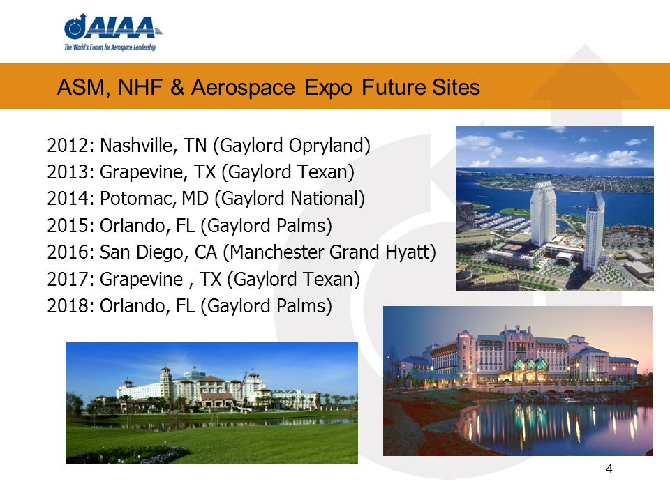 4 ASM, NHF & Aerospace Expo Future Sites 2012: Nashville, TN (Gaylord Opryland) 2013: Grapevine, TX (Gaylord Texan) 2014: Potomac, MD (Gaylord National) 2015: Orlando, FL (Gaylord Palms) 2016: San Diego, CA (Manchester Grand Hyatt) 2017: Grapevine, TX (Gaylord Texan) 2018: Orlando, FL (Gaylord Palms)