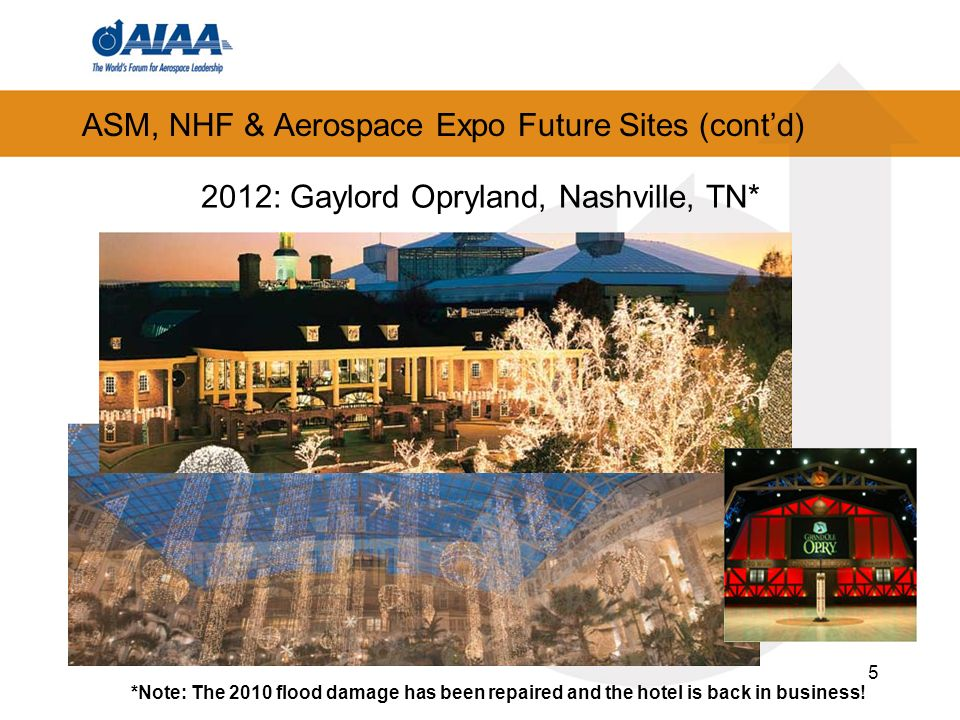 5 ASM, NHF & Aerospace Expo Future Sites (contd) *Note: The 2010 flood damage has been repaired and the hotel is back in business.