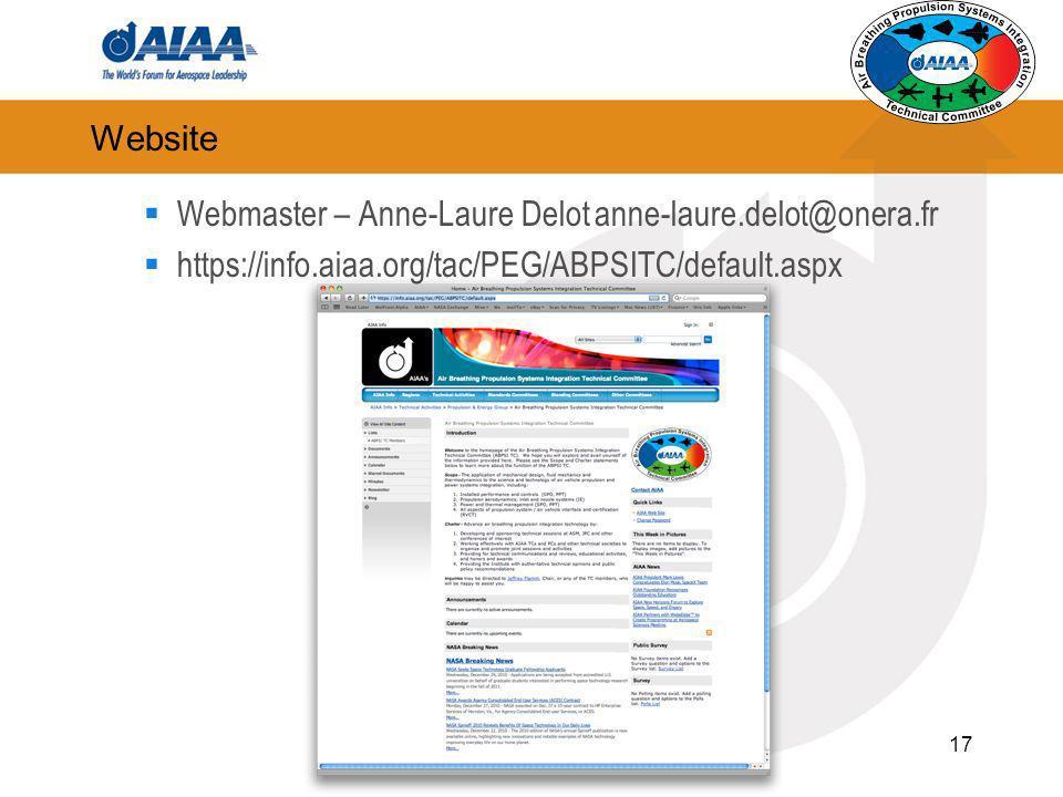17 Website Webmaster – Anne-Laure Delot anne-laure.delot@onera.fr https://info.aiaa.org/tac/PEG/ABPSITC/default.aspx