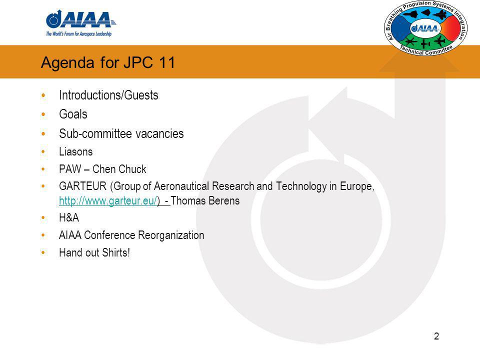 2 Agenda for JPC 11 Introductions/Guests Goals Sub-committee vacancies Liasons PAW – Chen Chuck GARTEUR (Group of Aeronautical Research and Technology