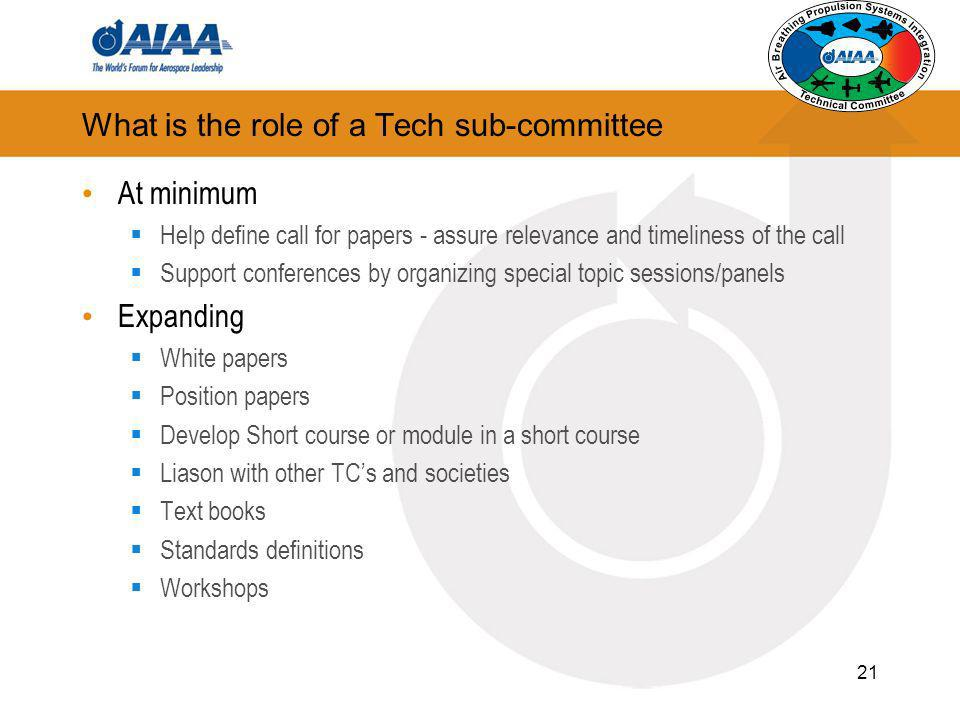 What is the role of a Tech sub-committee At minimum Help define call for papers - assure relevance and timeliness of the call Support conferences by o