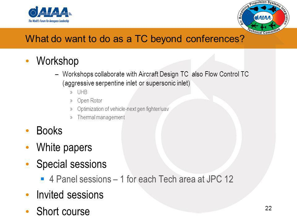 What do want to do as a TC beyond conferences? Workshop –Workshops collaborate with Aircraft Design TC also Flow Control TC (aggressive serpentine inl