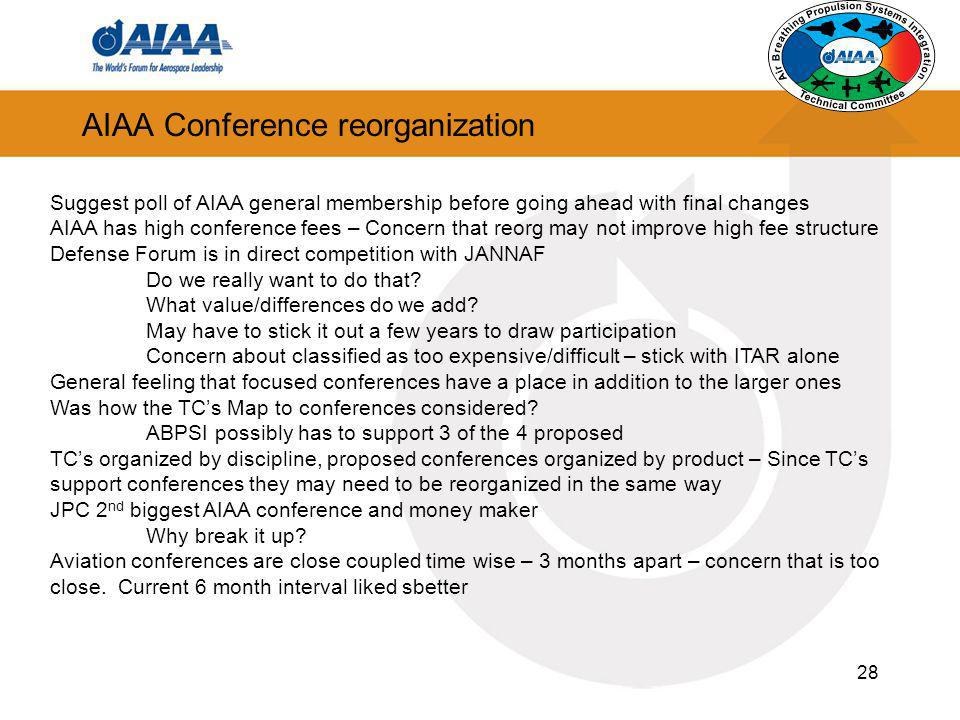 28 AIAA Conference reorganization Suggest poll of AIAA general membership before going ahead with final changes AIAA has high conference fees – Concer
