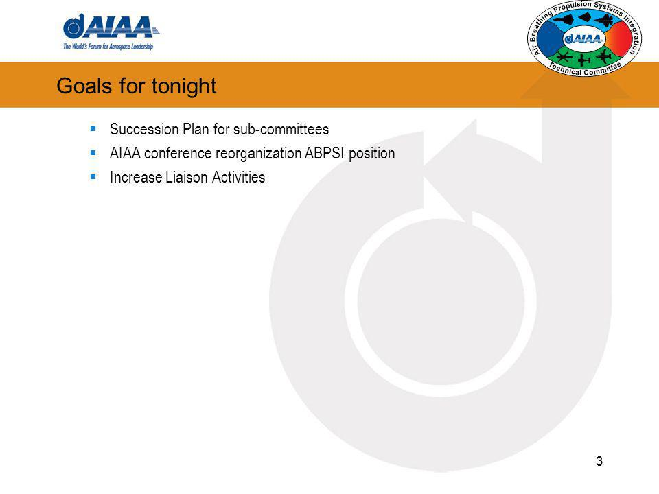 3 Goals for tonight Succession Plan for sub-committees AIAA conference reorganization ABPSI position Increase Liaison Activities