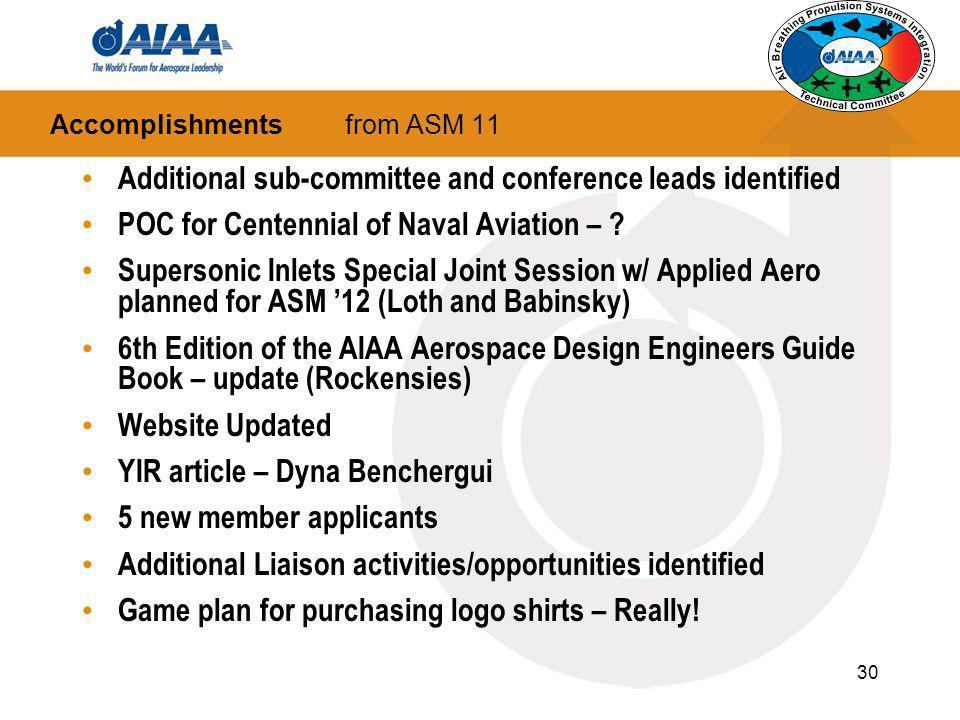 30 Accomplishments from ASM 11 Additional sub-committee and conference leads identified POC for Centennial of Naval Aviation – ? Supersonic Inlets Spe