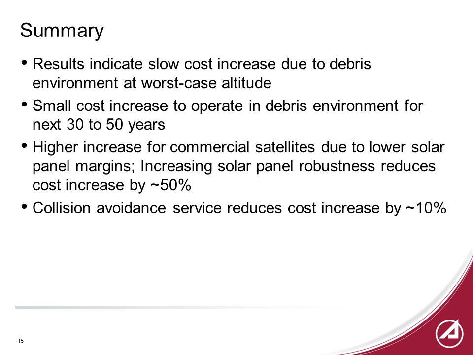 Summary Results indicate slow cost increase due to debris environment at worst-case altitude Small cost increase to operate in debris environment for next 30 to 50 years Higher increase for commercial satellites due to lower solar panel margins; Increasing solar panel robustness reduces cost increase by ~50% Collision avoidance service reduces cost increase by ~10% 15
