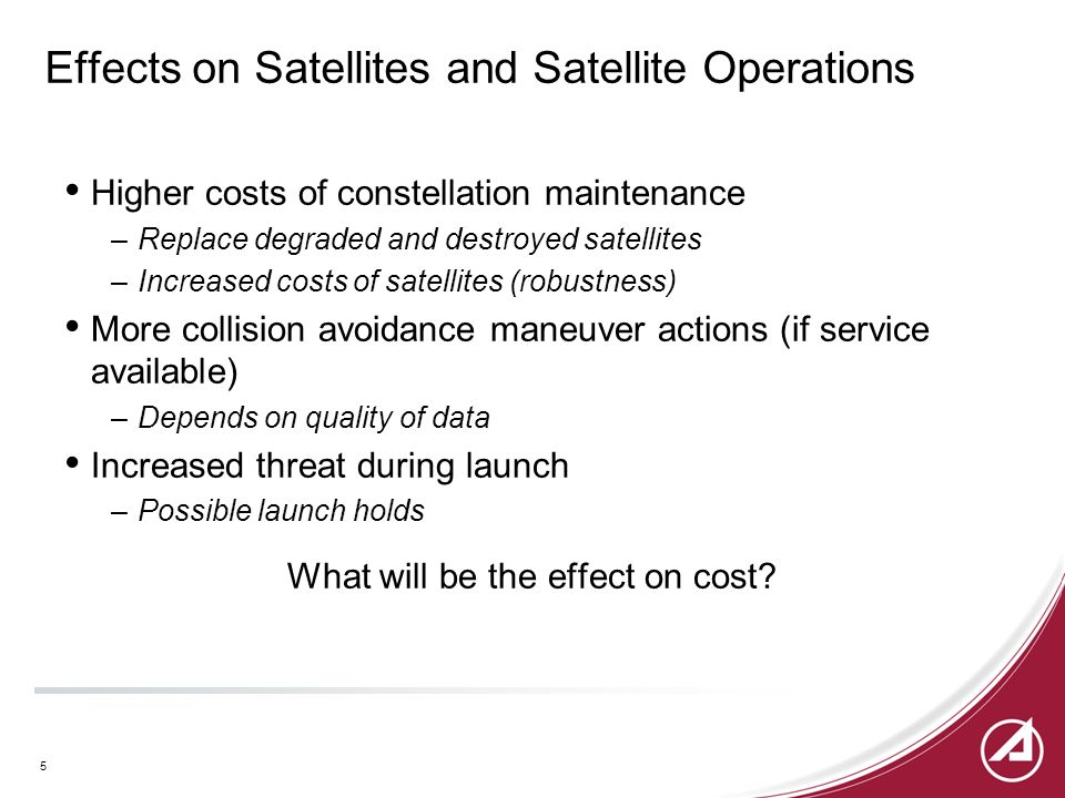 Effects on Satellites and Satellite Operations Higher costs of constellation maintenance –Replace degraded and destroyed satellites –Increased costs of satellites (robustness) More collision avoidance maneuver actions (if service available) –Depends on quality of data Increased threat during launch –Possible launch holds What will be the effect on cost.