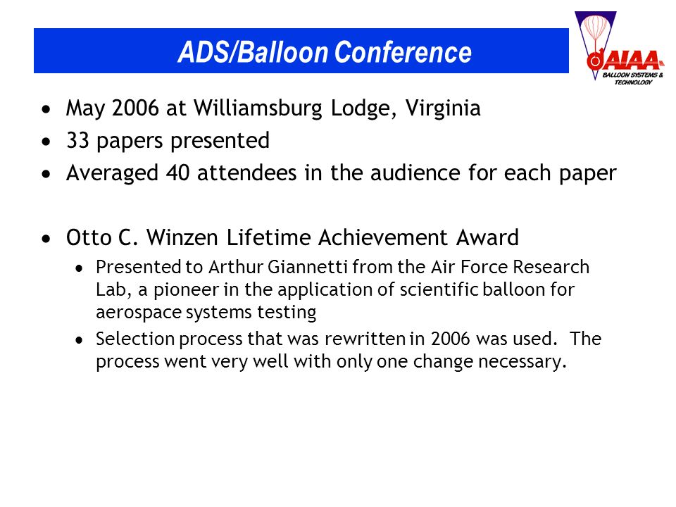 ADS/Balloon Conference May 2006 at Williamsburg Lodge, Virginia 33 papers presented Averaged 40 attendees in the audience for each paper Otto C.