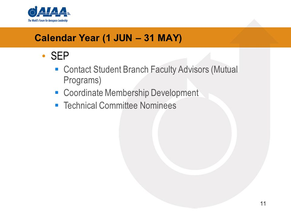 11 Calendar Year (1 JUN – 31 MAY) SEP Contact Student Branch Faculty Advisors (Mutual Programs) Coordinate Membership Development Technical Committee