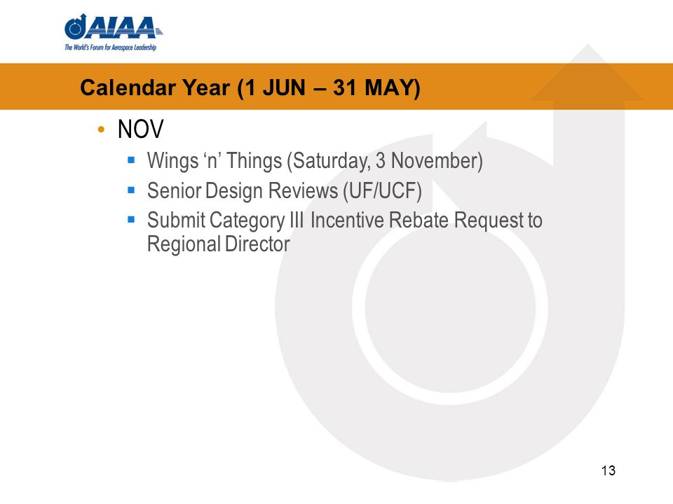13 Calendar Year (1 JUN – 31 MAY) NOV Wings n Things (Saturday, 3 November) Senior Design Reviews (UF/UCF) Submit Category III Incentive Rebate Request to Regional Director