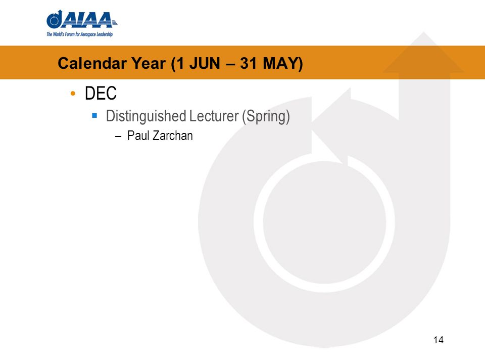 14 Calendar Year (1 JUN – 31 MAY) DEC Distinguished Lecturer (Spring) –Paul Zarchan