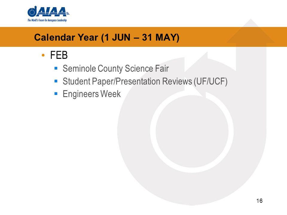 16 Calendar Year (1 JUN – 31 MAY) FEB Seminole County Science Fair Student Paper/Presentation Reviews (UF/UCF) Engineers Week