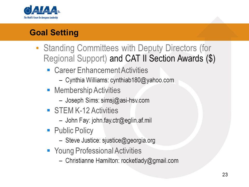 23 Goal Setting Standing Committees with Deputy Directors (for Regional Support) and CAT II Section Awards ($) Career Enhancement Activities –Cynthia