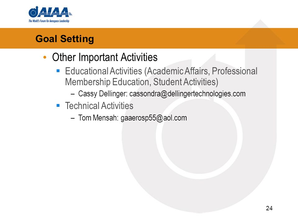24 Goal Setting Other Important Activities Educational Activities (Academic Affairs, Professional Membership Education, Student Activities) –Cassy Dellinger: cassondra@dellingertechnologies.com Technical Activities –Tom Mensah: gaaerosp55@aol.com