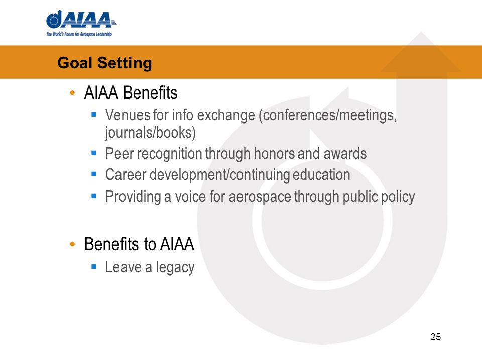 25 Goal Setting AIAA Benefits Venues for info exchange (conferences/meetings, journals/books) Peer recognition through honors and awards Career develo