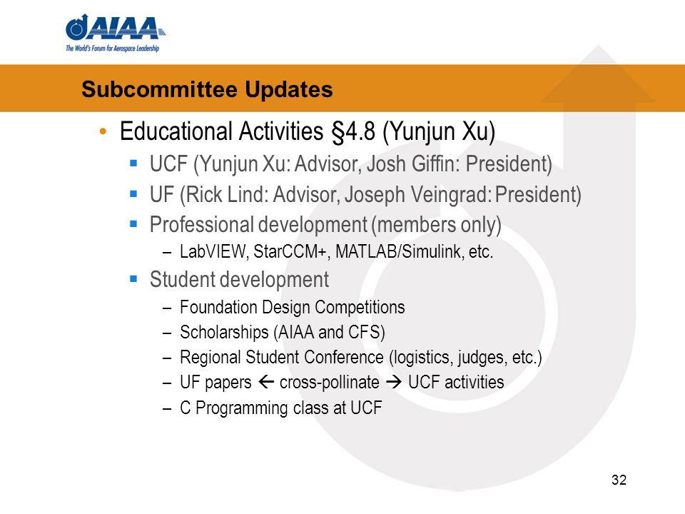 32 Subcommittee Updates Educational Activities §4.8 (Yunjun Xu) UCF (Yunjun Xu: Advisor, Josh Giffin: President) UF (Rick Lind: Advisor, Joseph Veingrad: President) Professional development (members only) –LabVIEW, StarCCM+, MATLAB/Simulink, etc.