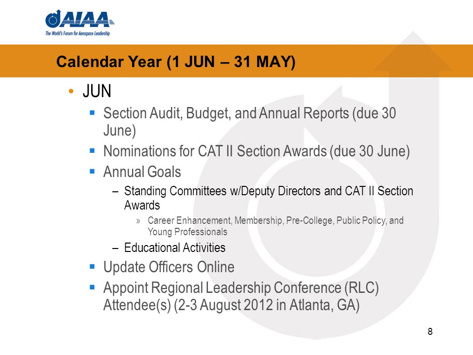 8 Calendar Year (1 JUN – 31 MAY) JUN Section Audit, Budget, and Annual Reports (due 30 June) Nominations for CAT II Section Awards (due 30 June) Annual Goals –Standing Committees w/Deputy Directors and CAT II Section Awards »Career Enhancement, Membership, Pre-College, Public Policy, and Young Professionals –Educational Activities Update Officers Online Appoint Regional Leadership Conference (RLC) Attendee(s) (2-3 August 2012 in Atlanta, GA)