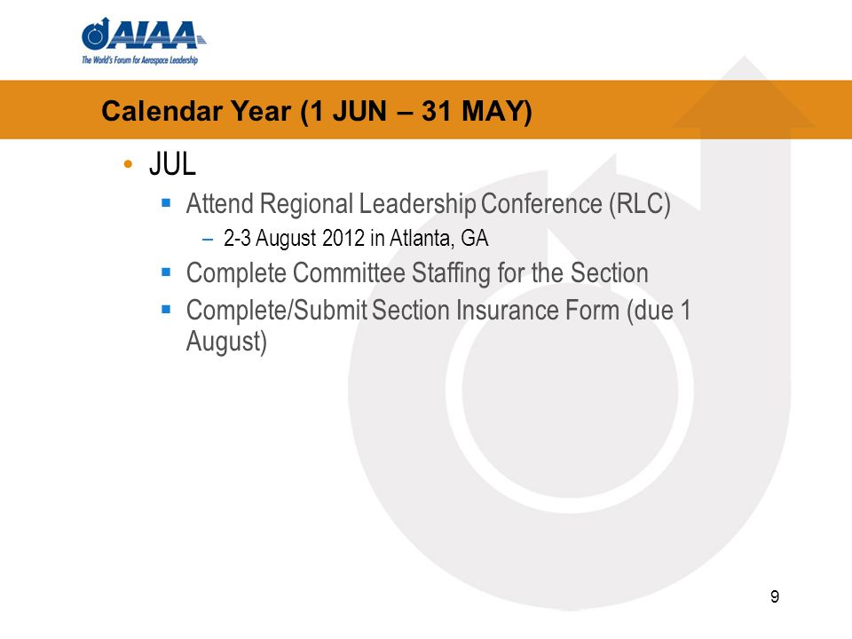 9 Calendar Year (1 JUN – 31 MAY) JUL Attend Regional Leadership Conference (RLC) –2-3 August 2012 in Atlanta, GA Complete Committee Staffing for the Section Complete/Submit Section Insurance Form (due 1 August)