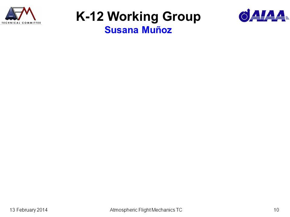 13 February 2014Atmospheric Flight Mechanics TC10 K-12 Working Group Susana Muñoz