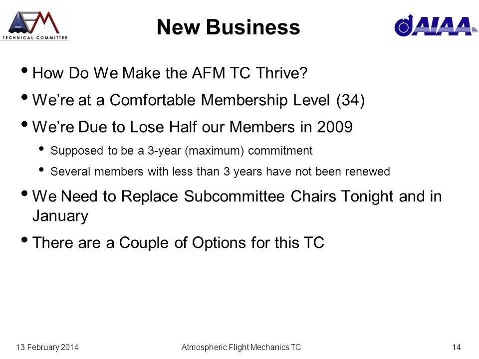 13 February 2014Atmospheric Flight Mechanics TC14 New Business How Do We Make the AFM TC Thrive.