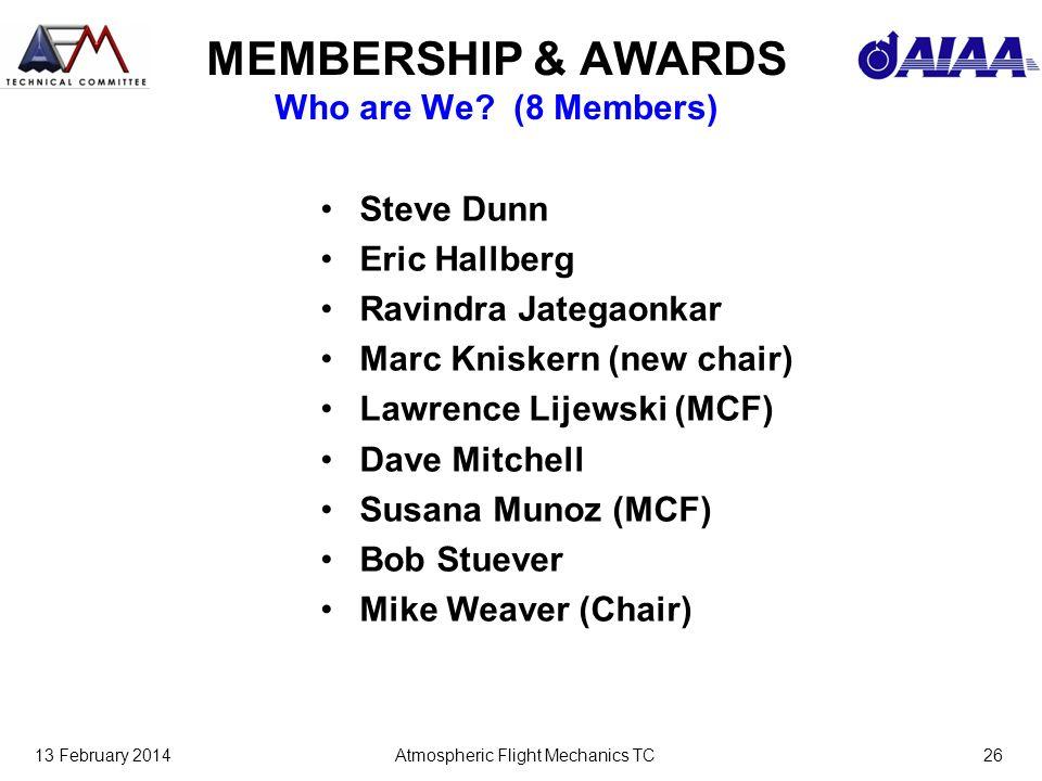 13 February 2014Atmospheric Flight Mechanics TC26 MEMBERSHIP & AWARDS Who are We.