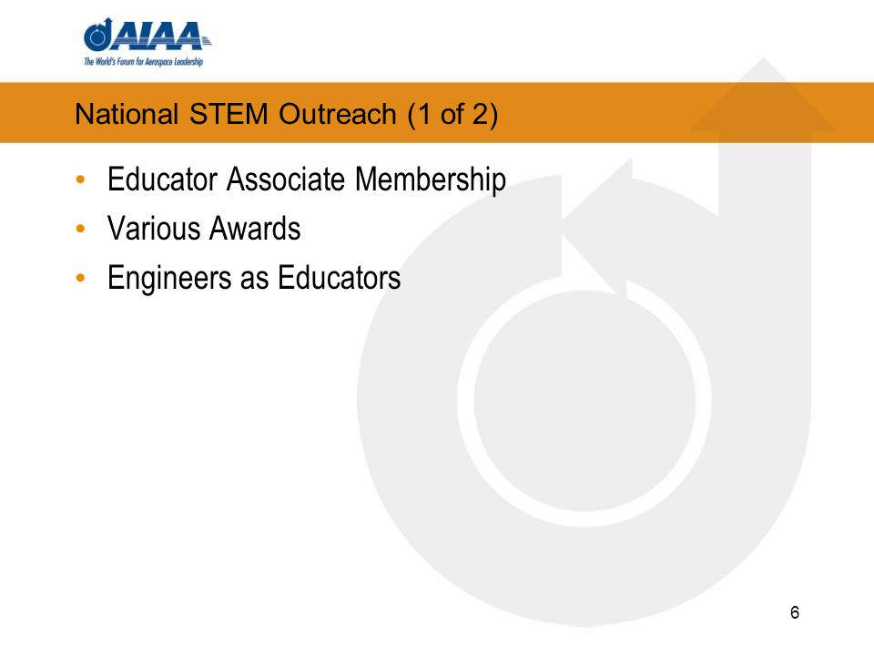 National STEM Outreach (2 of 2) AIAA Educator Academy Electric Cargo Airplane Space Weather Balloon Mars Rover Celebration STEM K-12 Webinar Series Two series for Section members and for Educators 7