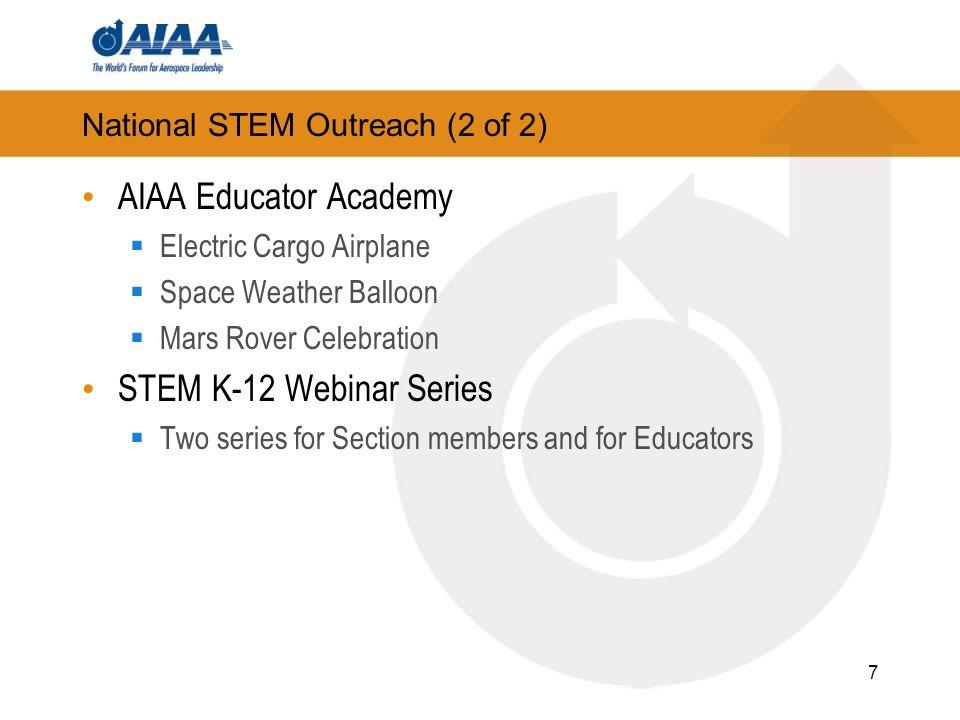 Resources AIAA STEM K-12 webpage: https://www.aiaa.org/Secondary.aspx?id=257 Careers in Aerospace brochure Educator Academy Materials 2013 STEM K-12 Webinar schedule 2013 Science Fair Report to AIAA Utah Section 2013 Utah Section Annual Report POC: Jeffrey C.