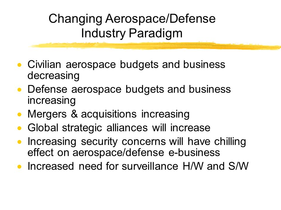 Changing Aerospace/Defense Industry Paradigm Civilian aerospace budgets and business decreasing Defense aerospace budgets and business increasing Mergers & acquisitions increasing Global strategic alliances will increase Increasing security concerns will have chilling effect on aerospace/defense e-business Increased need for surveillance H/W and S/W