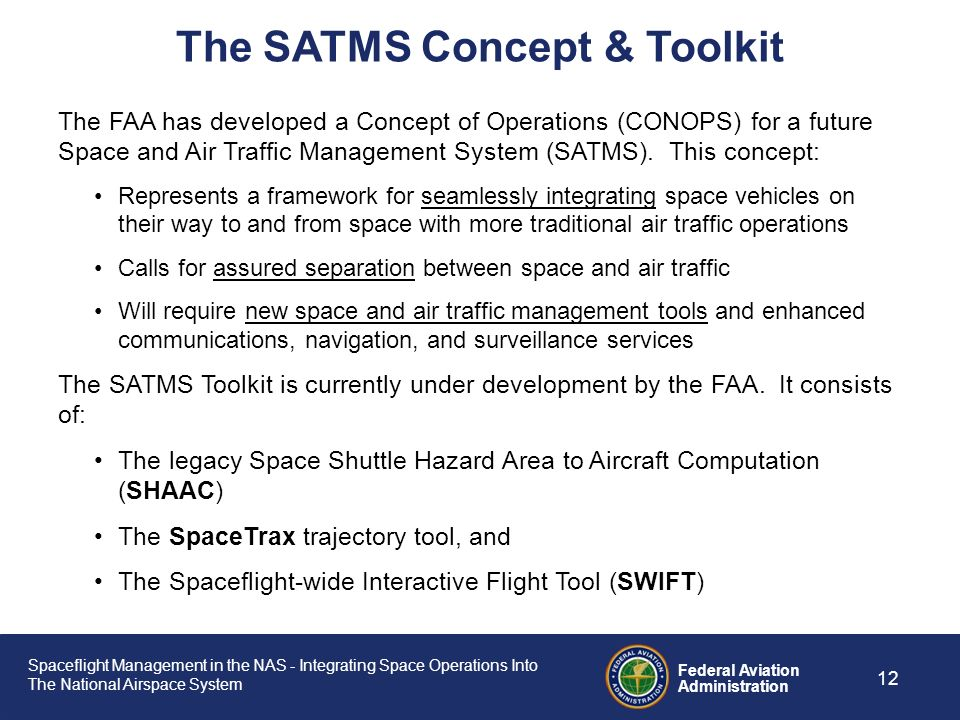 Spaceflight Management in the NAS - Integrating Space Operations Into The National Airspace System Federal Aviation Administration 11 Impacts Existing