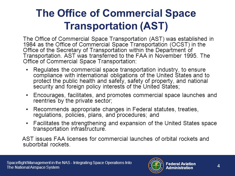 Spaceflight Management in the NAS - Integrating Space Operations Into The National Airspace System Federal Aviation Administration 3