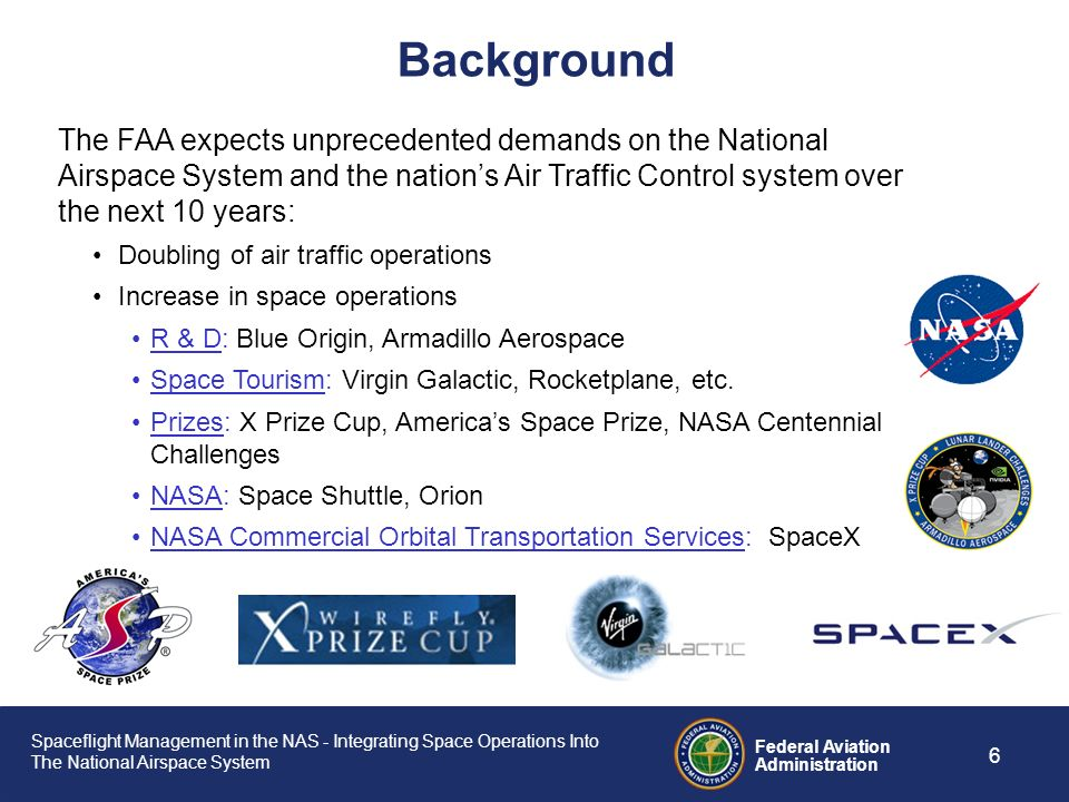 Spaceflight Management in the NAS - Integrating Space Operations Into The National Airspace System Federal Aviation Administration 5 The primary servi
