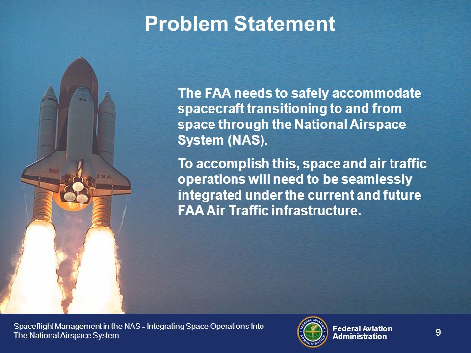 Spaceflight Management in the NAS - Integrating Space Operations Into The National Airspace System Federal Aviation Administration 8 Background – The