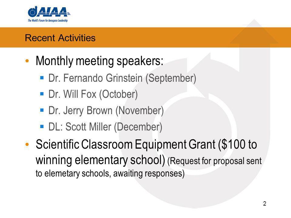 Recent Activities Monthly meeting speakers: Dr. Fernando Grinstein (September) Dr.