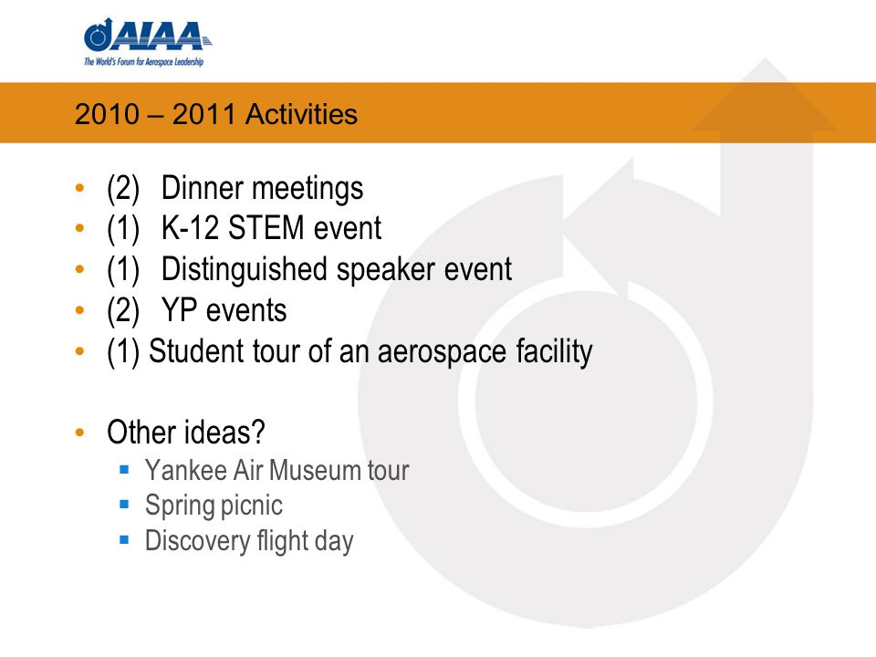 2010 – 2011 Activities (2) Dinner meetings (1)K-12 STEM event (1)Distinguished speaker event (2)YP events (1) Student tour of an aerospace facility Other ideas.