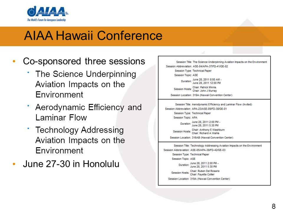 8 AIAA Hawaii Conference Co-sponsored three sessions · The Science Underpinning Aviation Impacts on the Environment · Aerodynamic Efficiency and Laminar Flow · Technology Addressing Aviation Impacts on the Environment June 27-30 in Honolulu