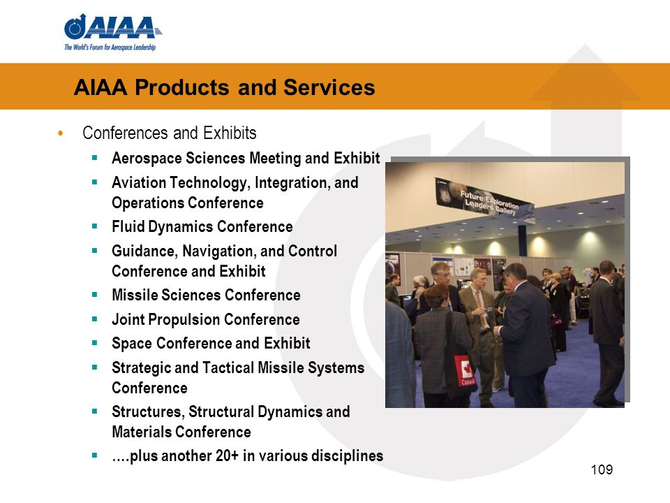 109 AIAA Products and Services Conferences and Exhibits Aerospace Sciences Meeting and Exhibit Aviation Technology, Integration, and Operations Confer