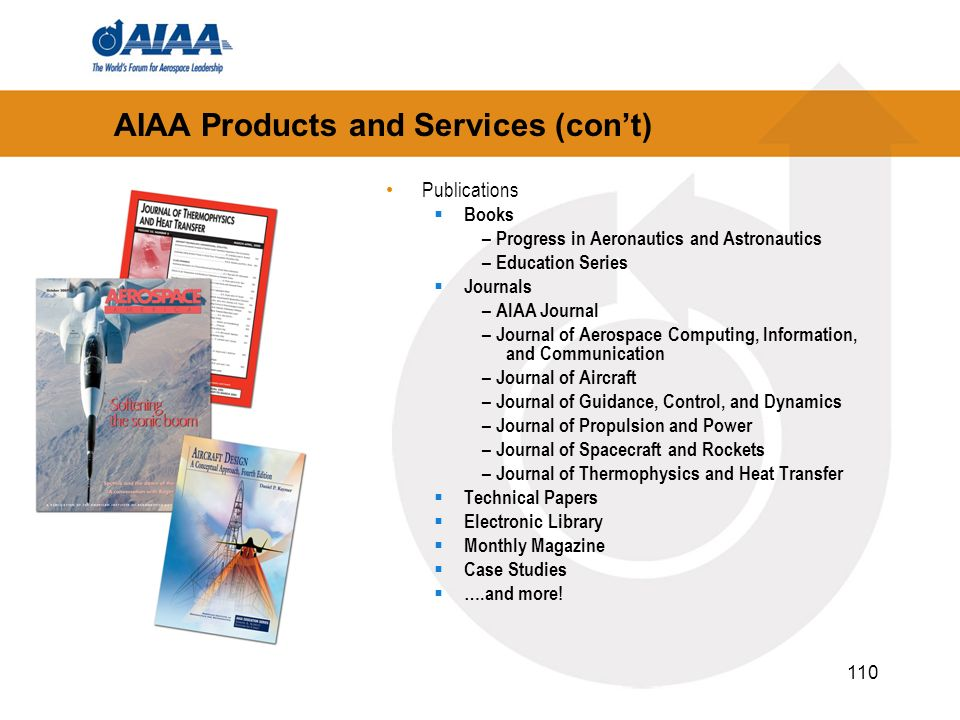 110 AIAA Products and Services (cont) Publications Books – Progress in Aeronautics and Astronautics – Education Series Journals – AIAA Journal – Journ
