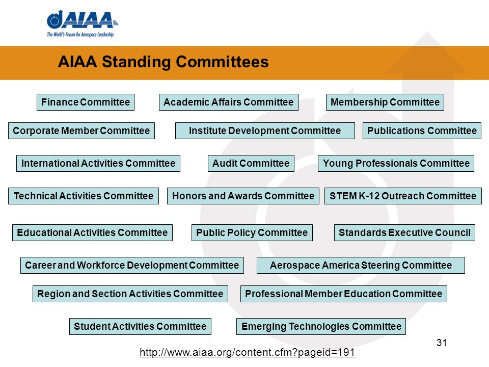 31 AIAA Standing Committees Academic Affairs Committee Audit Committee Membership Committee STEM K-12 Outreach CommitteeHonors and Awards Committee Co