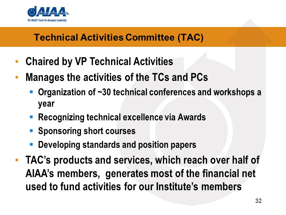 32 Technical Activities Committee (TAC) Chaired by VP Technical Activities Manages the activities of the TCs and PCs Organization of ~30 technical con