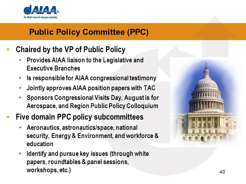 40 Public Policy Committee (PPC) Chaired by the VP of Public Policy Provides AIAA liaison to the Legislative and Executive Branches Is responsible for