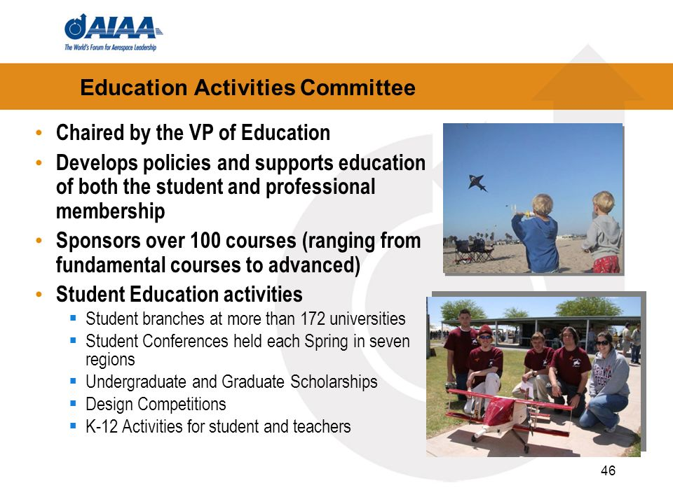 46 Education Activities Committee Chaired by the VP of Education Develops policies and supports education of both the student and professional members