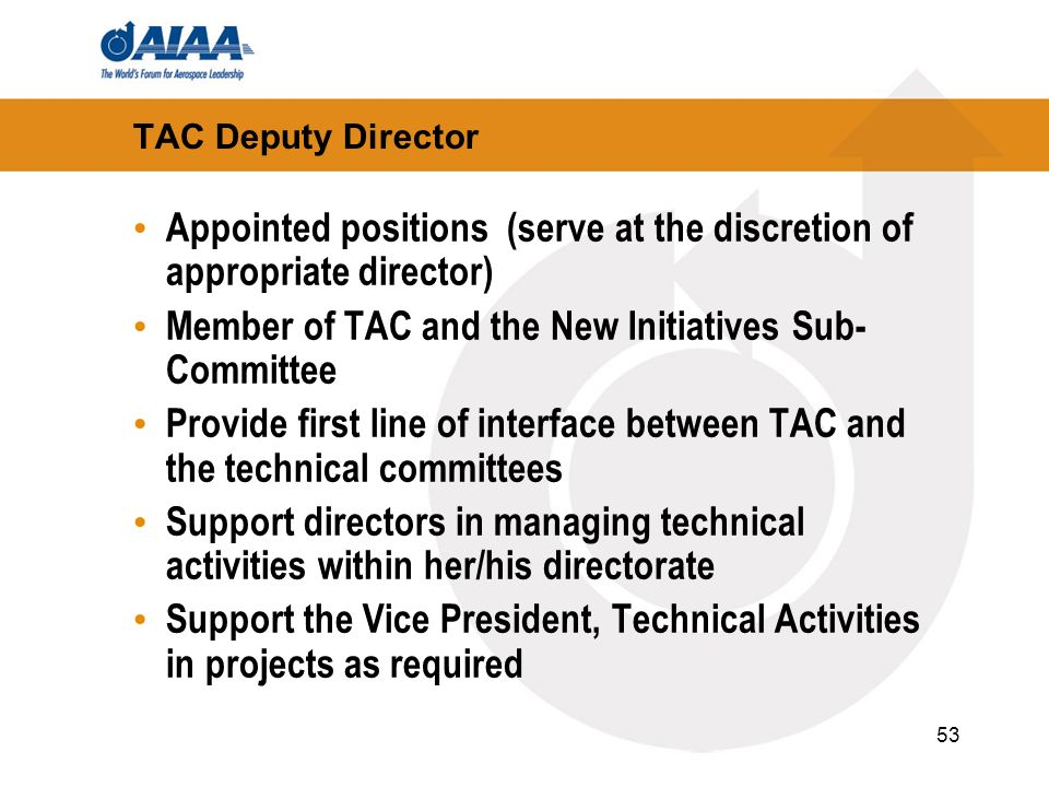 53 TAC Deputy Director Appointed positions (serve at the discretion of appropriate director) Member of TAC and the New Initiatives Sub- Committee Prov