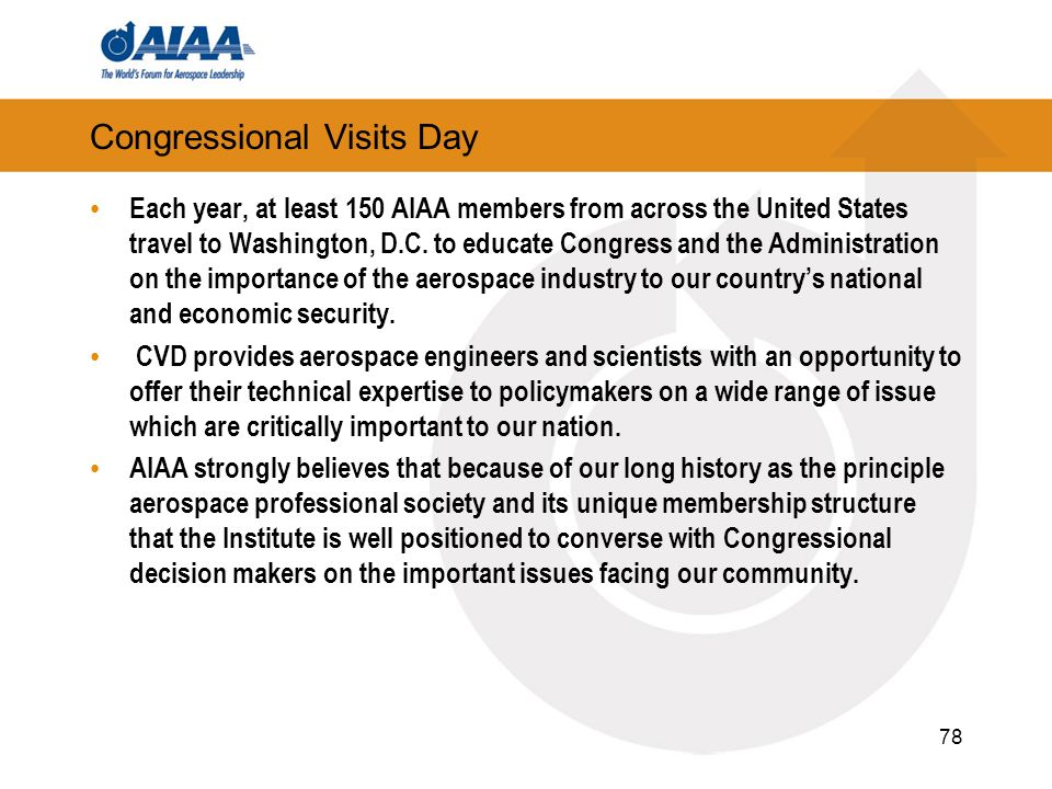 Congressional Visits Day Each year, at least 150 AIAA members from across the United States travel to Washington, D.C. to educate Congress and the Adm