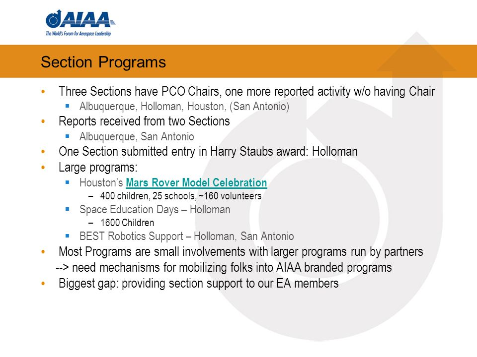 Section Programs Three Sections have PCO Chairs, one more reported activity w/o having Chair Albuquerque, Holloman, Houston, (San Antonio) Reports rec