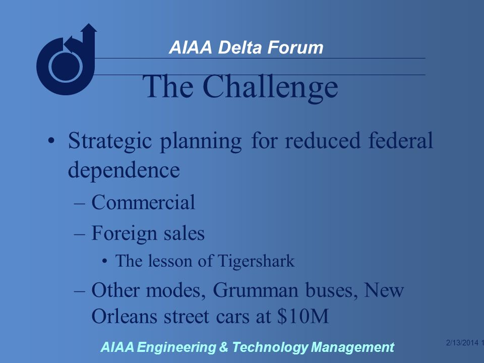 2/13/2014 11 AIAA Delta Forum AIAA Engineering & Technology Management The Challenge Strategic planning for reduced federal dependence –Commercial –Foreign sales The lesson of Tigershark –Other modes, Grumman buses, New Orleans street cars at $10M