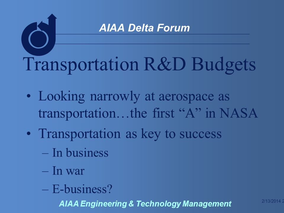 2/13/2014 2 AIAA Delta Forum AIAA Engineering & Technology Management Transportation R&D Budgets Looking narrowly at aerospace as transportation…the first A in NASA Transportation as key to success –In business –In war –E-business