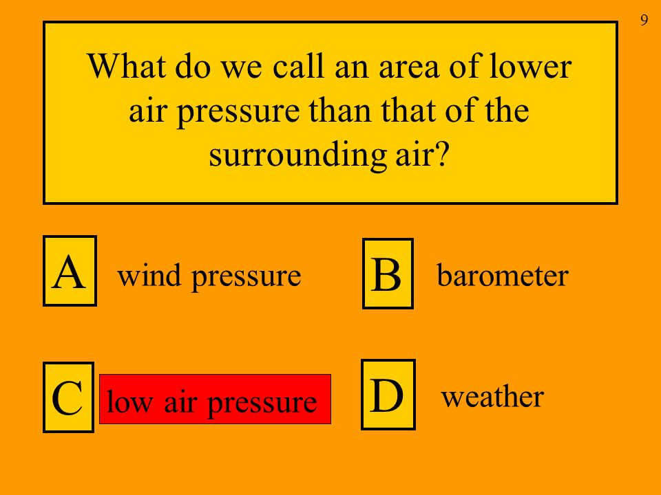 What do we call an area of lower air pressure than that of the surrounding air.