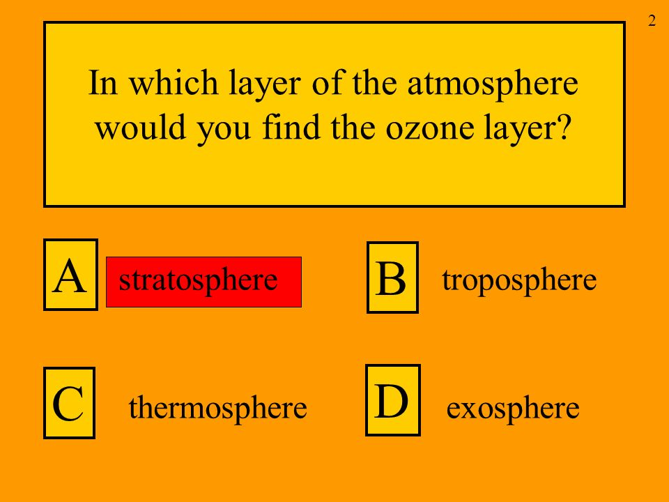 In which layer of the atmosphere would you find the ozone layer.